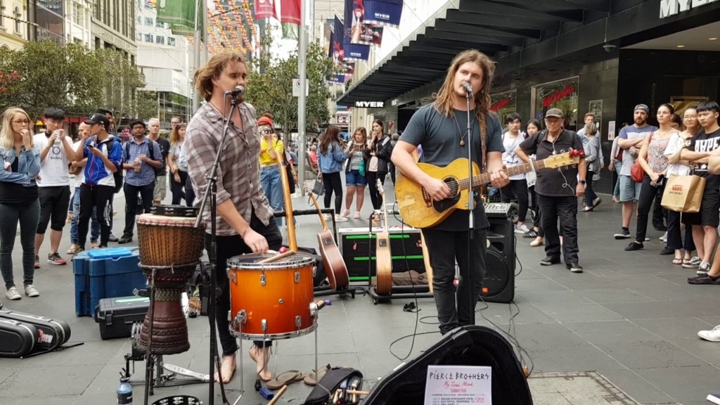 Pierce Brothers busking on Bourke St