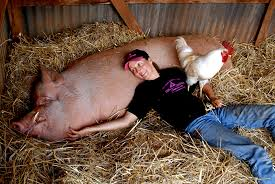 Photo of Pam with Edgar Allen Pig