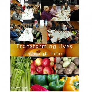 Picture of people eating at shared tables , picture of fruit and vegetables with text reading 'Transforming lives through food'